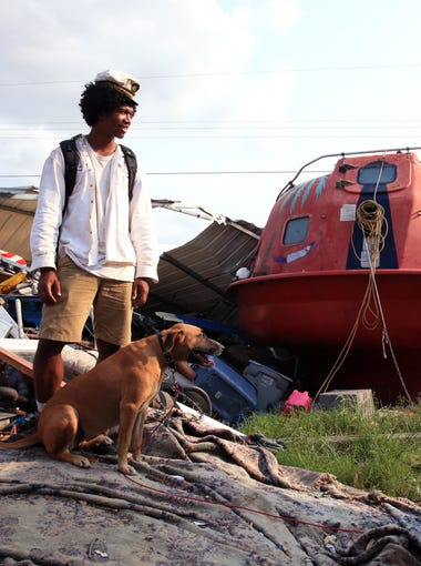 Davonn Phothiboupha stayed in this hurricane pod bought by Linda Caster, a resident of Holiday Beach in Aransas County, as Hurricane Harvey made landfall. She said it saved their lives. Her two dogs, including Jamie the Thief, also stayed int he pod.