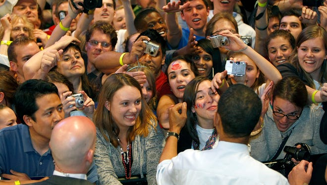 In Indiana University Bloomington after a speech by Barack Obama in 2008.