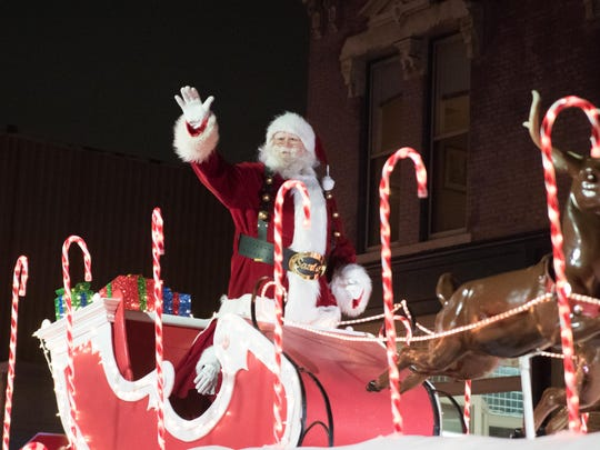 Santa Claus in Lafayette Indiana for the 2016 Christmas Parade