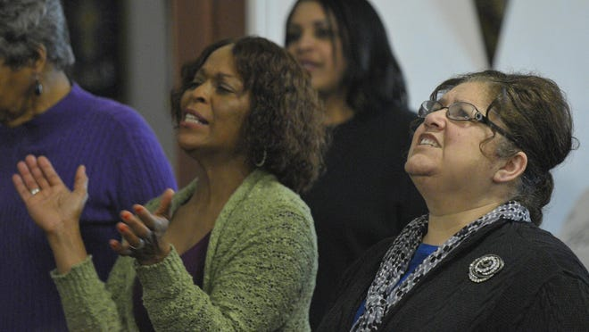 The Tulare Kings Counties B-Stars Mass Choir rehearses at Mount Zion Temple Church for its 27th Annual Gospel Music Concert.