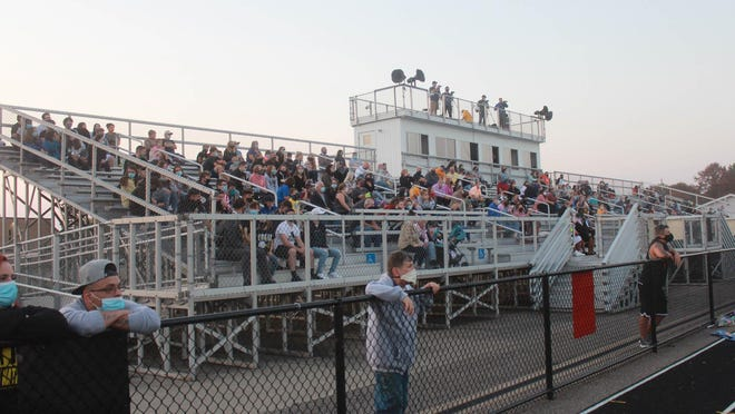 A crowd of 552 fans attends the Iroquois-Union City game on Friday at John L. Post Stadium. Iroquois changed its policy expanded the crowd size for the game after a federal judge ruled Gov. Tom Wolf's COVID-19 crowd limits unconstitutional last week.