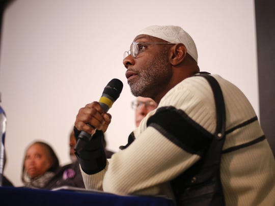 Rep. Ako Abdul-Samad of Des Moines speaks during a panel on racial profiling in Iowa on Tuesday, December 7, 2015, at Sussman Theater on the campus of Drake University in Des Moines.
