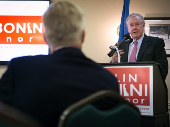 Steve Forbes, chairman and editor-in-chief of Forbes Media, speaks to supporters of Colin Bonini at the University and Whist Club in Wilmington.