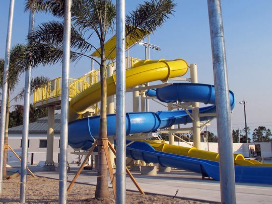 Water slides under construction at the Eagle Lakes