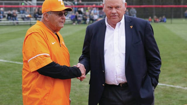 Tennessee softball co-coach Ralph Weekly (left) chatted with athletics director Phillip Fulmer prior to last year's Midstate Classic at Ridley Park. The Lady Vols' scheduled matchup Tuesday against Memphis, as well as the earlier contest between Columbia State and Martin Methodist, has been cancelled in light of concerns regarding the coronavirus outbreak and the weather forecast.