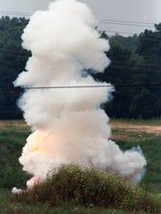 Law enforcement officials detonated the apparent explosive