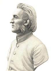 A bust of Joel D. Steele