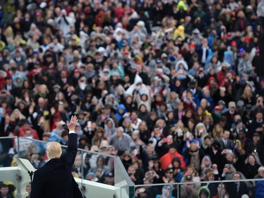President Donald Trump gives his first speech after being sworn-in as the 45th US president in front of the Capitol in Washington on January 20, 2017.