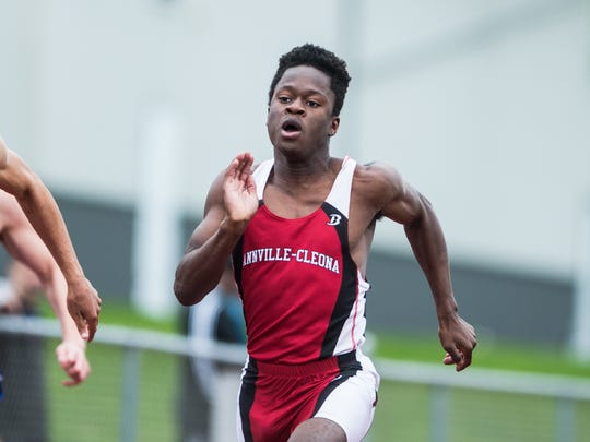 Annville-Cleona's Stanley Miller qualified for the 100 and 200 dash finals on Friday.