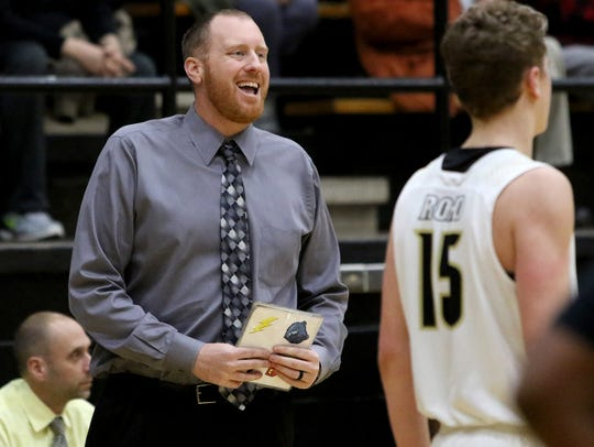 Rider head boys basketball coach Cliff McGuire talks