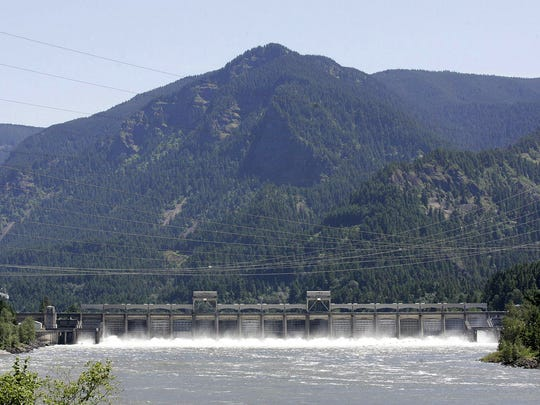 The Bonneville Dam, about 40 miles east of Portland