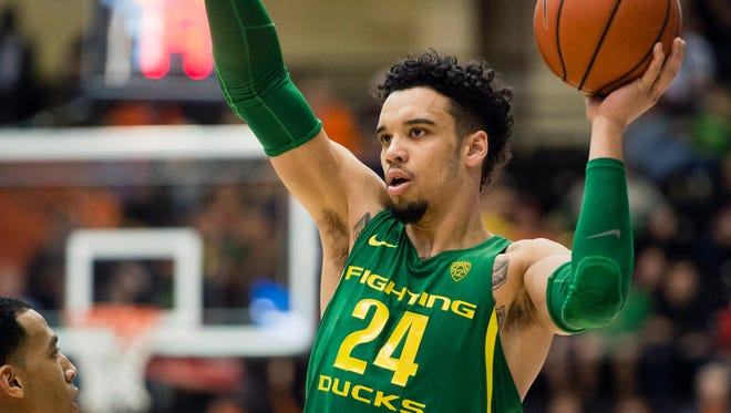 Mar 4, 2017; Corvallis, OR, USA; Oregon Ducks forward Dillon Brooks (24) motions to a teammate during the second half in a game against the Oregon State Beavers at Gill Coliseum. The Ducks won 80-59. Mandatory Credit: Troy Wayrynen-USA TODAY Sports