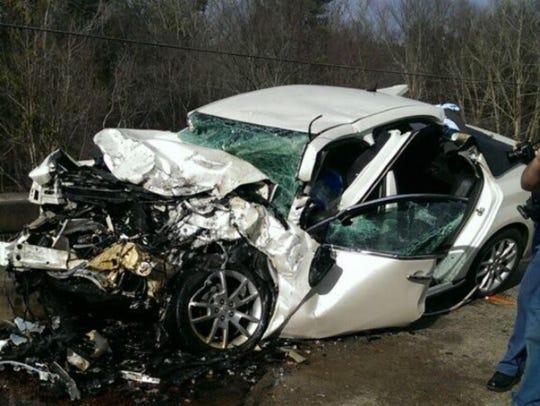 Casey Wilkes' car following a Jan. 1, 2015 crash that