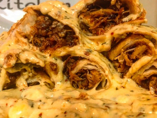 BBQ Chicken Enchiladas with Sharp Provolone Cream Sauce