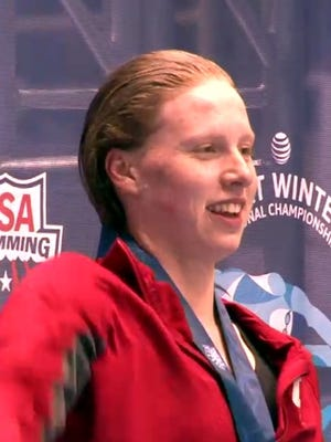 Indiana swimmer Lilly King set records in the 100- and 200-yard breaststrokes at the Big Ten Championships last week.