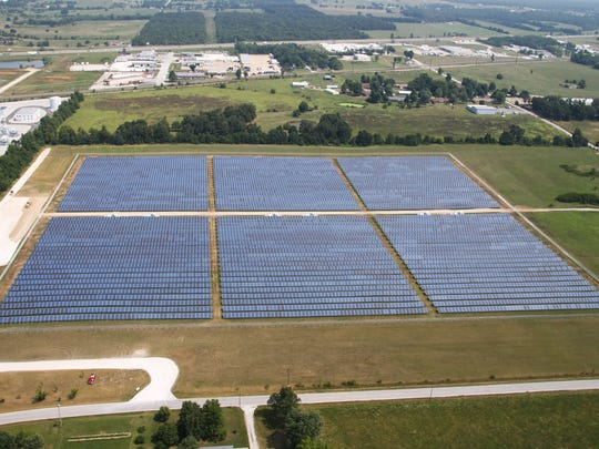 City Utilities isn't moving forward with a proposed second solar farm that would have been located near the Springfield-Branson National Airport. This undated photo shows an existing solar farm northeast of Springfield where CU buys electricity.