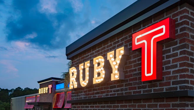 Ruby Tuesday restaurant sign.