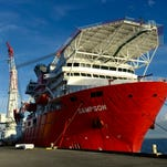 A second subsea construction vessel, Sampson, has docked at the Port of Pensacola along with NOR Goliath for maintenance to be performed by Offshore Inland Marine & Oilfield Services Inc. Both ships are about 590 feet long has docked at the Port of Pensacola