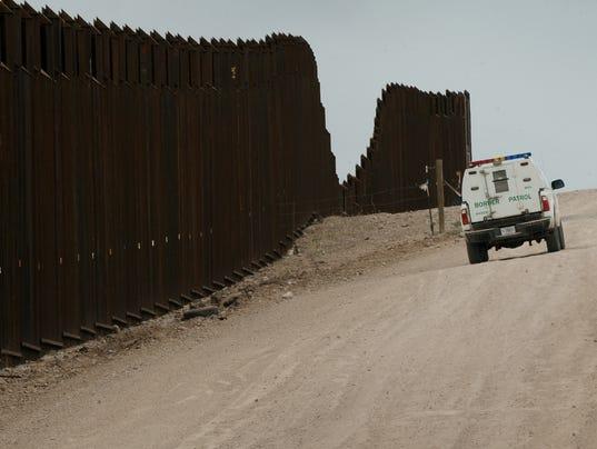 A US Border Patrol vehicle drives along