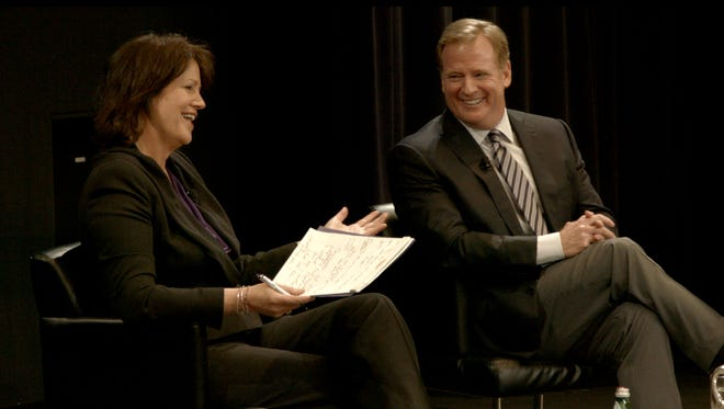 USA TODAY Sports' Christine Brennan and NFL Commissioner Roger Goodell on Wednesday during a town hall sessions at Northwestern.