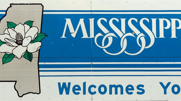 Mississippi welcomes you as displayed by this road sign on the Tennessee border near Corinth, Miss., Tuesday, Sept. 23, 2008.