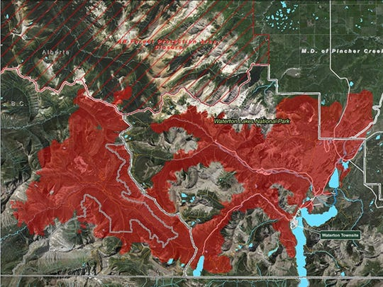The Kenow Fire, which ripped through Waterton National Park in Alberta, is estimated at 89,000 acres.