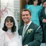 Maria Shriver and Arnold Schwarzenegger on their wedding day in Hyannis, Mass.
