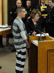 Tyler Schaeffer, left, with Public Defender Amber Haas,