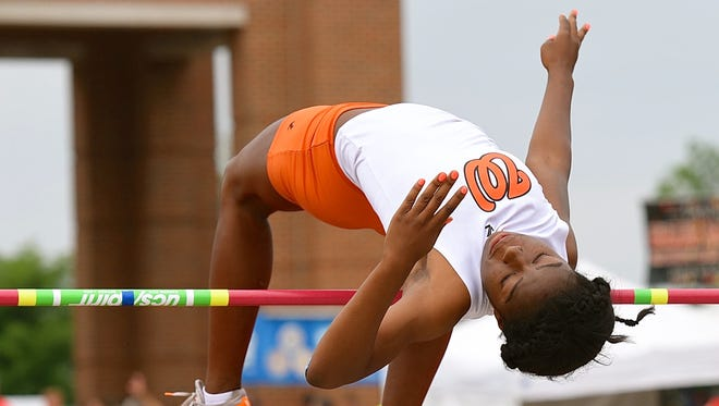Withrow's J'Alyiea Smith competes in the girl's Division I high jump at the state track and field meet at Ohio State's Jesse Owens Memorial Stadium.