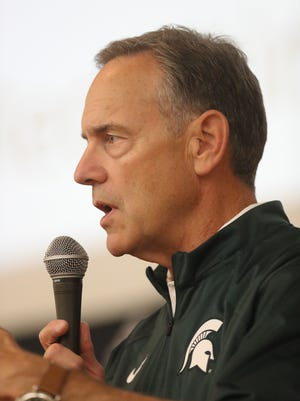 Michigan State coach Mark Dantonio talks to student athletes during the Sound Mind Sound Body football camp held at Wayne State Friday.