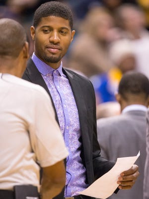 Paul George, shown during the Pacers' game against Denver on Nov. 14, has settled a paternity suit.