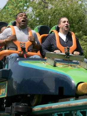 2005: Rider feel the G-force as their faces distort as they launch on Kingda Ka at Six Flags Great Adventure.