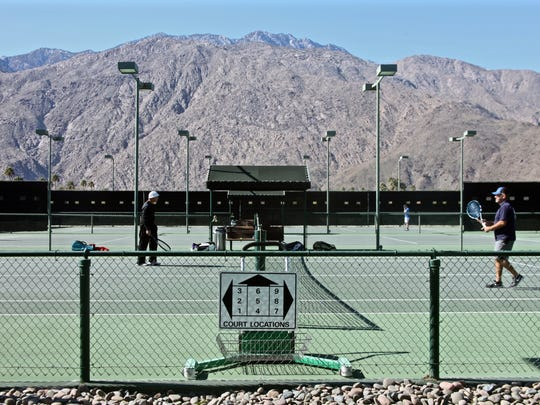 Players get in a game at the Plaza Racquet Club in Palm Springs. The tennis club closed in June 2016.
