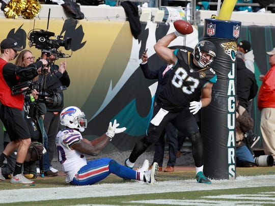 JACKSONVILLE, FL - JANUARY 07: Tight end Ben Koyack #83 of the Jacksonville Jaguars spikes the ball in front of outside linebacker Ramon Humber #50 of the Buffalo Bills after catching a third quarter touchdown pass during the AFC Wild Card Playoff game at EverBank Field on January 7, 2018 in Jacksonville, Florida.  (Photo by Scott Halleran/Getty Images)