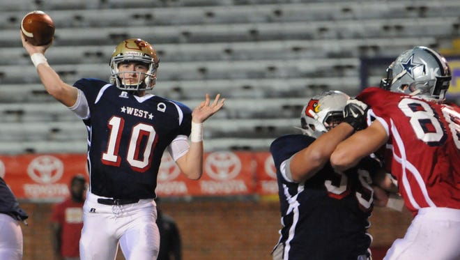West quarterback Andrew Bunch (Independence) fires a pass during Friday's East-West All-Star Game in Cookeville.