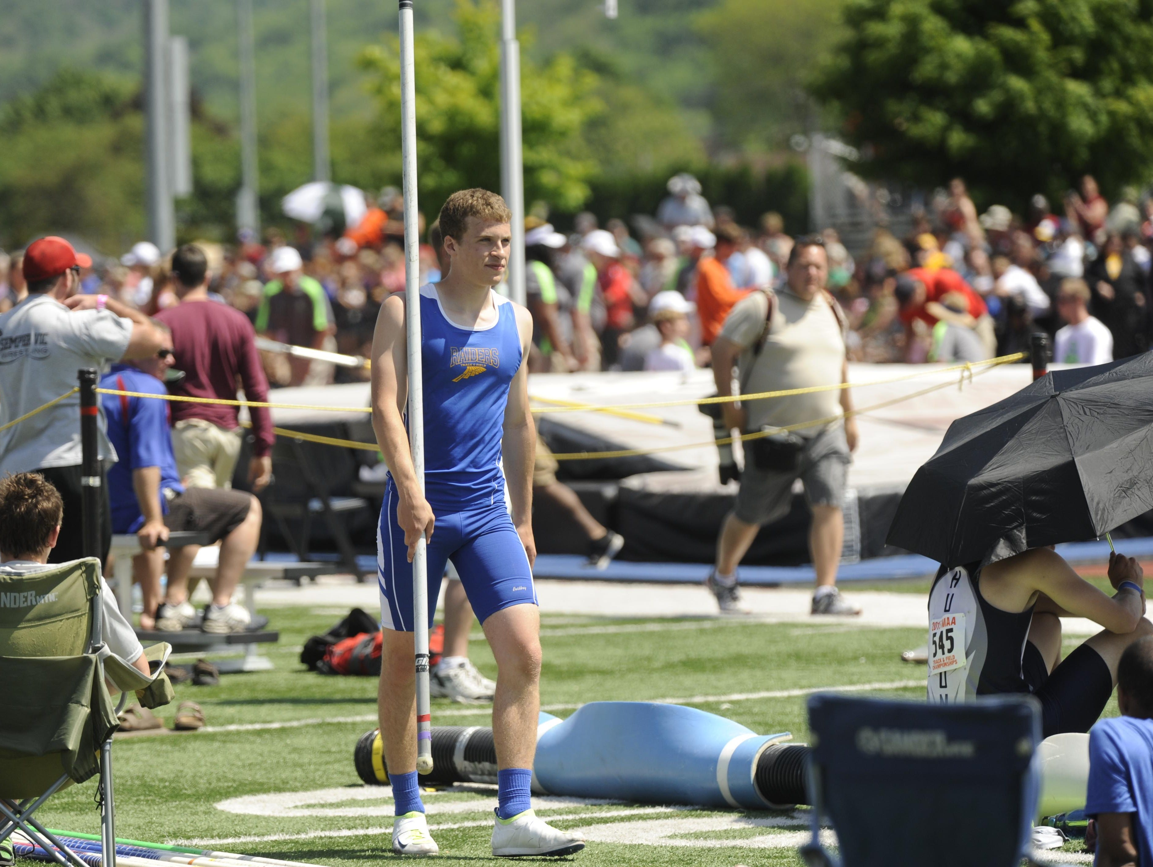 Sheboygan North's Dan Becker waits his turn at the pole vault during Saturday's WIAA State Track and Field Meet. Becker won the title in the event.