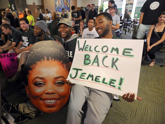 "In 2014, Jemele Hill visited her alma mater Michigan State for a live broadcast of her co-hosted show ""Numbers Never Lie"" from East Lansing."