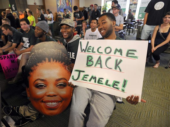 """In 2014, Jemele Hill visited her alma mater Michigan State for a live broadcast of her co-hosted show """"Numbers Never Lie"""" from East Lansing."""