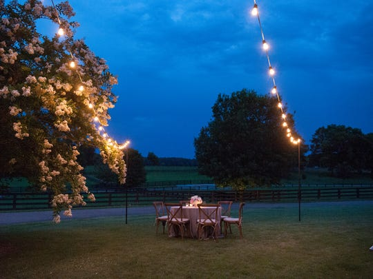 A table is set out for wedding festivities at Providence Hill Farm.