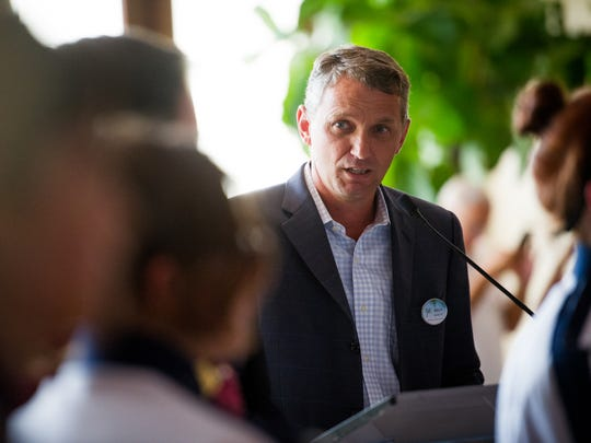 Hyatt General Manager Brian Kramer talks to a crowd during the 15th anniversary celebration of the Hyatt Regency Coconut Point Resort and Spa in Bonita Springs on Wednesday, Sept. 21, 2016. The resort commemorated the anniversary with a performance by the Estero High School Marching Band, which played at the resort's opening shortly after the 9/11 attacks in 2001.