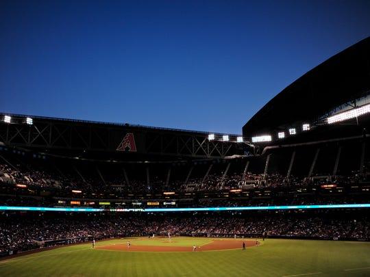 A view of Chase Field, home of the Arizona Diamondbacks.