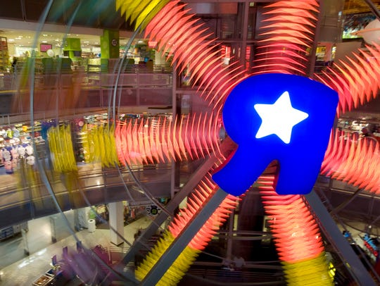 This iconic ferris wheel at the Times Square Toys R