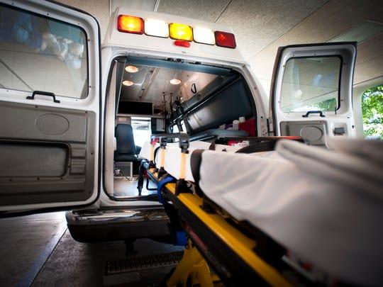 An ambulance and gurney.