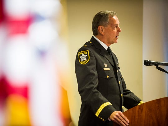 Sheriff Kevin Rambosk spoke at the Law Enforcement Memorial Service on Thursday evening, May 17, 2018