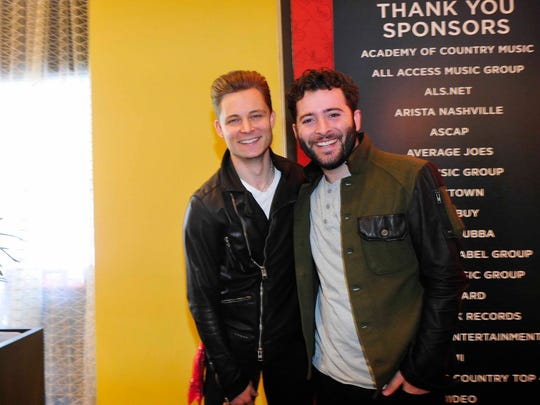 Frankie Ballard poses with Anthony Carbajal, who was responsible for sparking last summer's ALS ice bucket craze. Ballard gave him the custom-made green Army jacket that Carbajal is wearing.