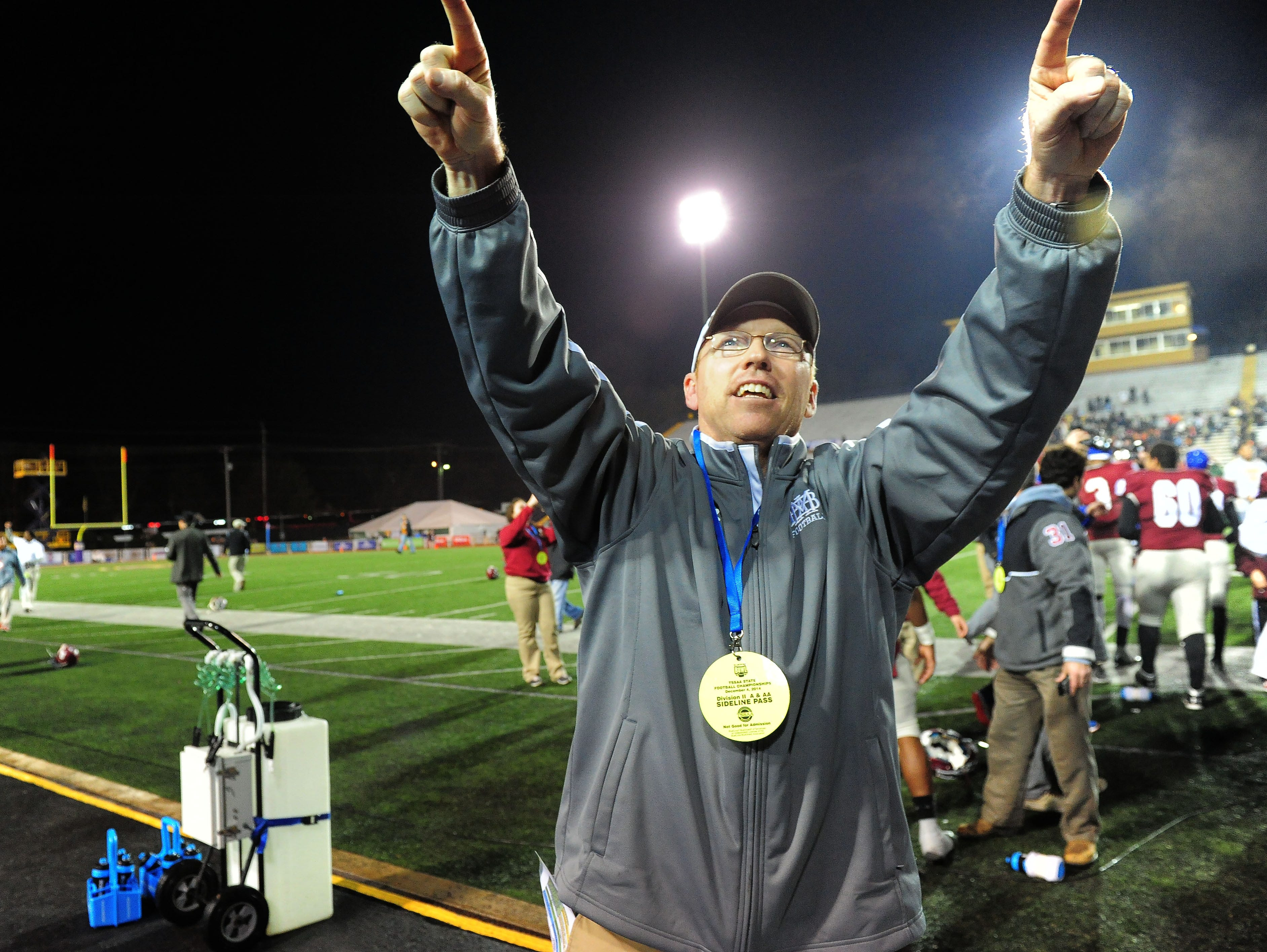 Montgomery Bell head coach Marty Euverard celebrates last year's Division II-AA championship win over Ensworth.