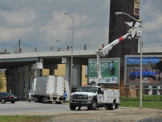 Light pole knocked over by semi-trailer in Richmond
