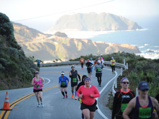 Participants can run or walk routes of different lengths during the 2015 Big Sur International Marathon.
