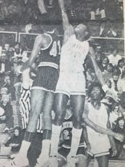 Dwayne Casey came high off the floor in a game against Louisville Central in February 1975. Casey contributed 20 points to the game that night.