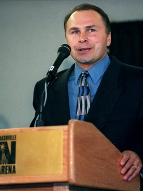 Barry Trotz, the new NHL coach for the expansion Nashville team, speak to the media at a press conference at the Nashville Arena.  8/6/1997